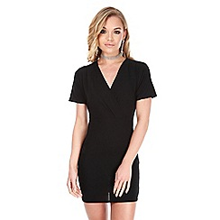 Be Jealous - Black wrap over midi bodycon dress