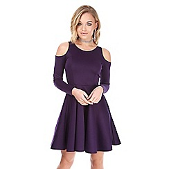 Be Jealous - Purple cold shoulder long sleeves skater dress