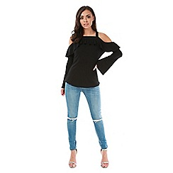 Be Jealous - Black strappy off shoulder frill long bell sleeve top