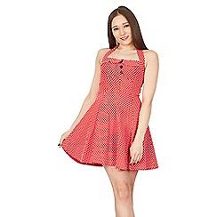 GOLDKID LONDON - Red polka dots halter neck vintage dress
