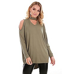 Be Jealous - Khaki cold shoulder choker neck top