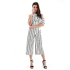 Be Jealous - White frill top cullotte jumpsuit