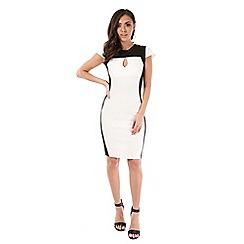 Be Jealous - White contrast panel knee length dress