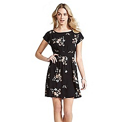 Apricot - Black floral bunches basic dress