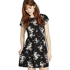 Apricot - Black floral bouquet basic dress