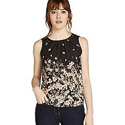Apricot - Black floral print pleated top