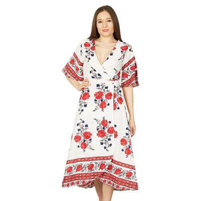 c067bd1a6 Shoptagr | Izabel London White Floral Print Wrap Midi Dress by ...