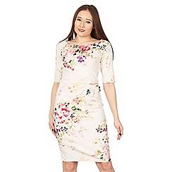 Jolie Moi - Pink floral print 3/4 sleeve bodycon dress