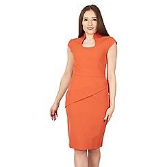 Jolie Moi - Orange high collar retro bodycon dress