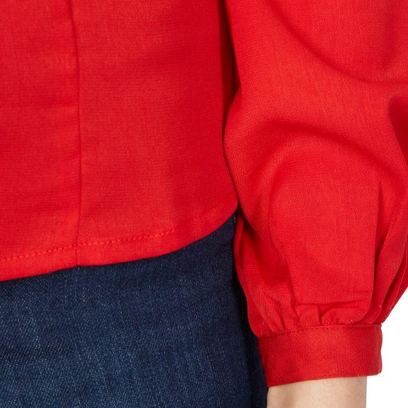 Red puff MISSTRUTH top round neck ball sleeve Pqtdtrw