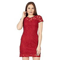 Izabel London - Red short sleeved lace dress