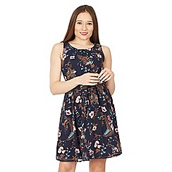 Izabel London - Navy detailed floral swing dress