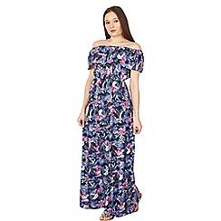 Izabel London - Blue botanical frill maxi dress