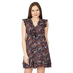 Izabel London - Navy frilled sleeve blossom print dress