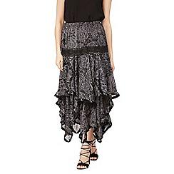 Izabel London - Black layered frilled maxi skirt
