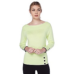 Roman Originals - Green contrast button jumper
