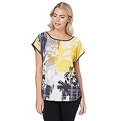 Roman Originals - Yellow abstract floral print top