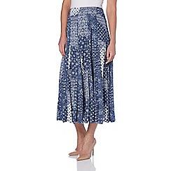 Roman Originals - Blue patchwork print burnout skirt