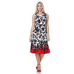 Roman Originals - Red twist waist floral print dress