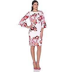 Roman Originals - Pink floral flute sleeve scuba dress