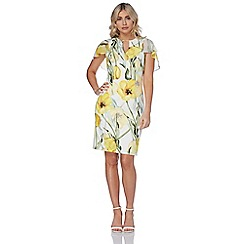 Roman Originals - Yellow chiffon scuba dress
