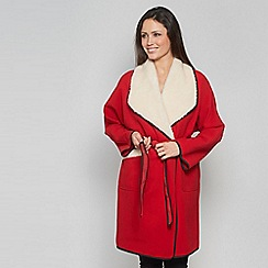 David Barry - Red faux shearling jacket
