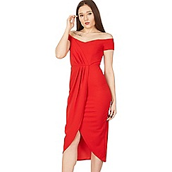 Blue Vanilla - Red pleated wrap off shoulder dress
