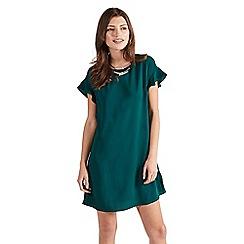 Apricot - Green cascade frill shift dress