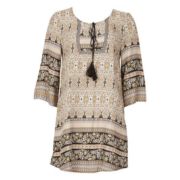 tunic Apricot Khaki print dress folk FvSaWSq