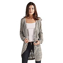 Apricot - Grey pointelle knit longline cardigan