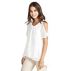 Apricot - Cream layered cold shoulder top