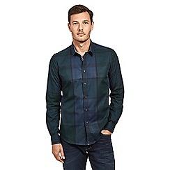Mish Mash - Dark blue cotton large check long sleeve shirt