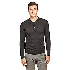 Mish Mash - Dark grey soft touch long sleeve knitted polo shirt