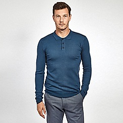 Mish Mash - Navy soft touch long sleeve knitted polo shirt