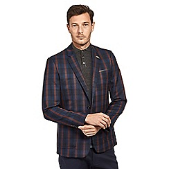 Mish Mash - Navy cotton mix check single breasted blazer