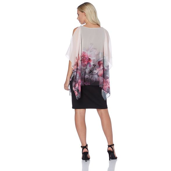 Roman dress chiffon pink overlay floral Light Originals xxTqapf
