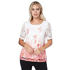 Roman Originals - Multicoloured lace pink mix top
