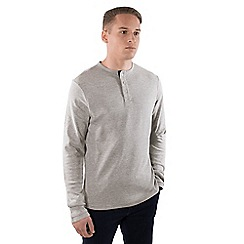 Steel & Jelly - Pale grey cotton long sleeve 'Henley' jumper