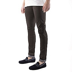 Steel & Jelly - Dark grey turn up slim fit cotton stretch chinos