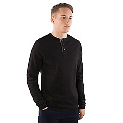 Steel & Jelly - Black cotton long sleeve henley jumper