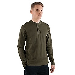 Steel & Jelly - Khaki textured striped cotton long sleeve shirt
