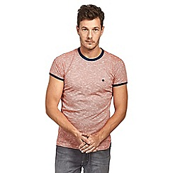 Mish Mash - Light brown slub effect short sleeve cotton t-shirt