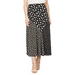 Izabel London - Black floral contrast print maxi skirt