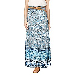 Izabel London - Blue paisley print belted skirt
