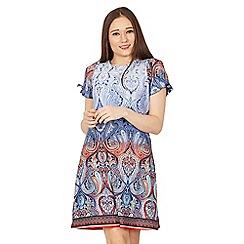 Izabel London - Blue tie sleeve print shift dress