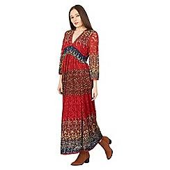 Izabel London - Red v-neck crochet maxi dress
