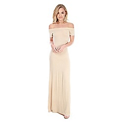 Be Jealous - Beige off shoulder short sleeves maxi dress
