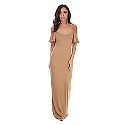Be Jealous - Camel off shoulder maxi dress