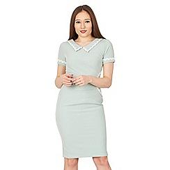 Jolie Moi - Light green short sleeves lace trimmed dress