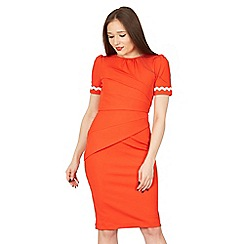 Jolie Moi - Red lace trimmed fold detail bodycon dress
